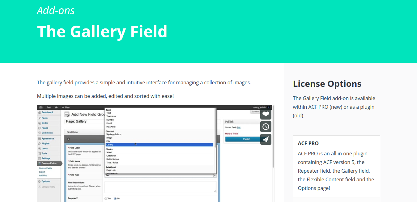 ACF Pro – Advanced Custom Fields Gallery Field Addon 1.1.1