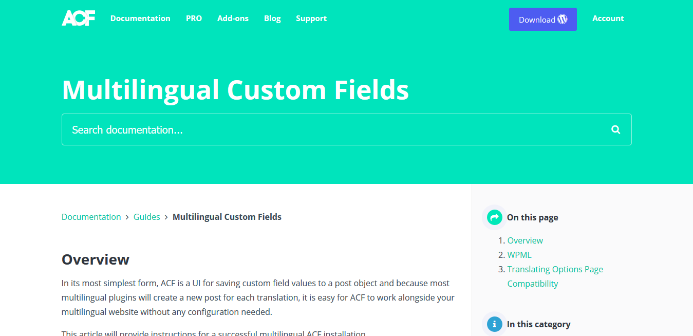 ACF Pro – Advanced Custom Fields Multilingual 1.8.1