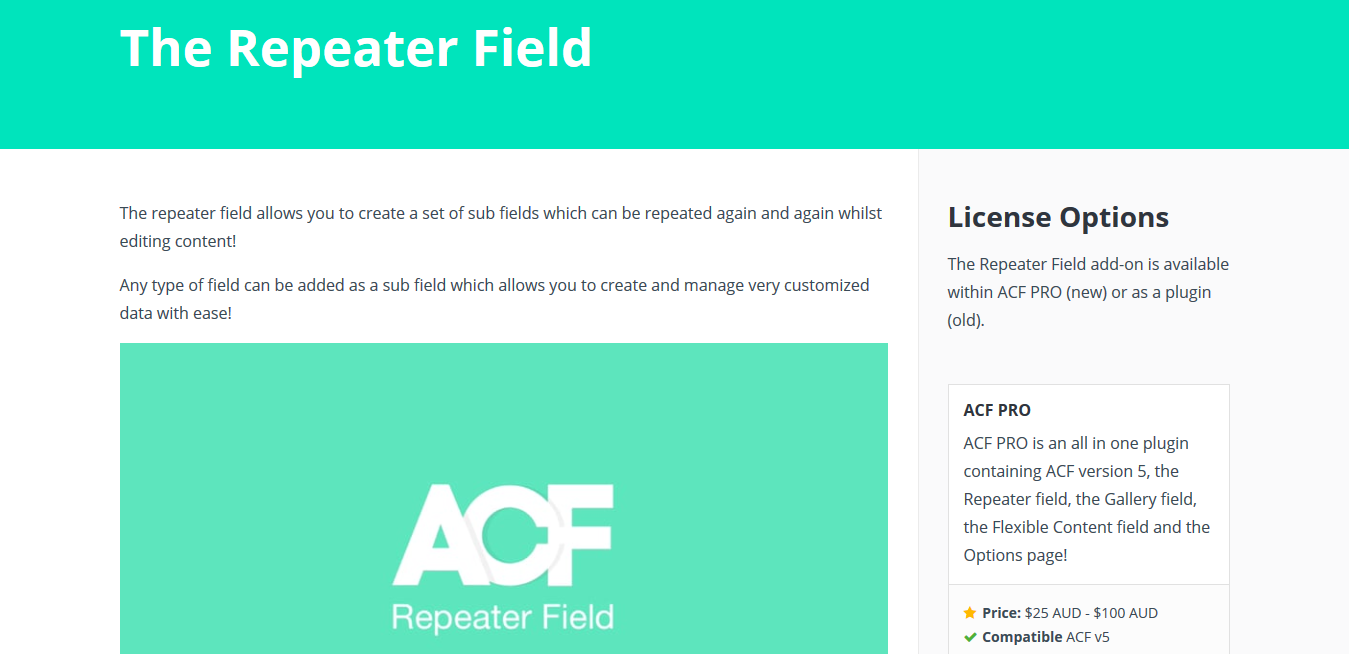 ACF Pro – Advanced Custom Fields Repeater Field Addon 1.1.1