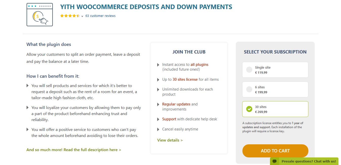 YITH WooCommerce Deposits and Down Payments Premium 1.4.1