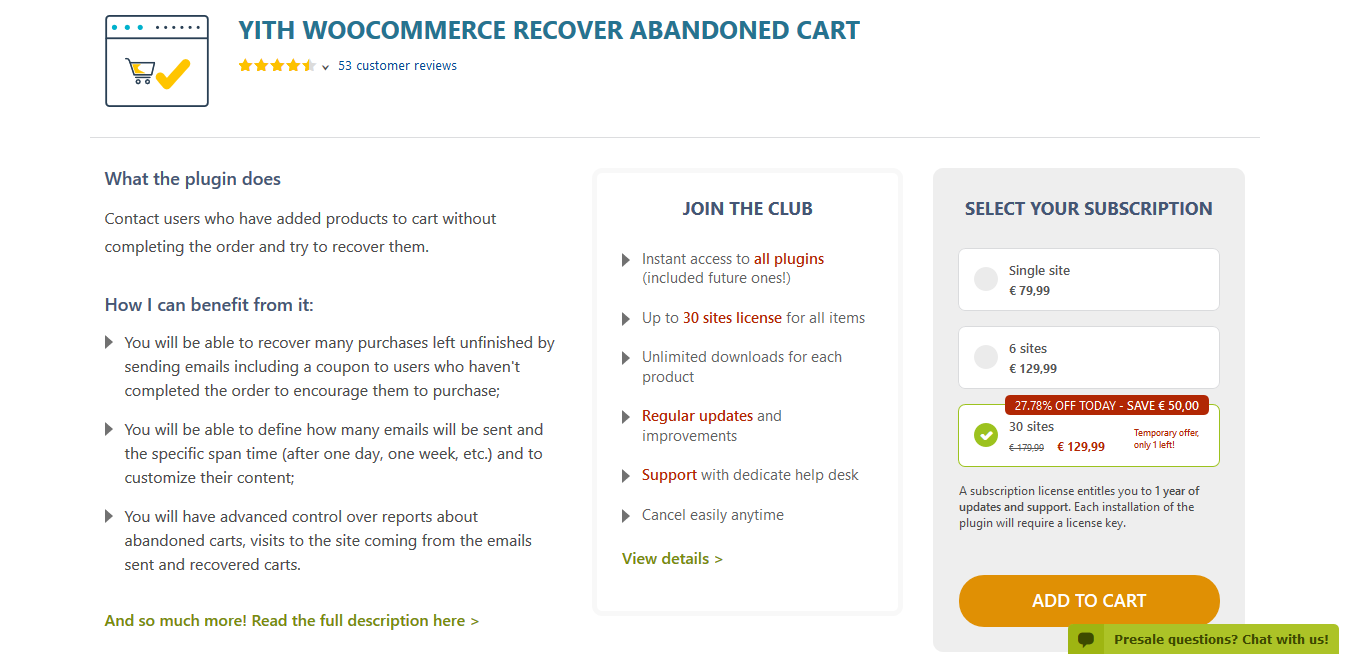 YITH WooCommerce Recovered Abandoned Cart Premium 2.0.6