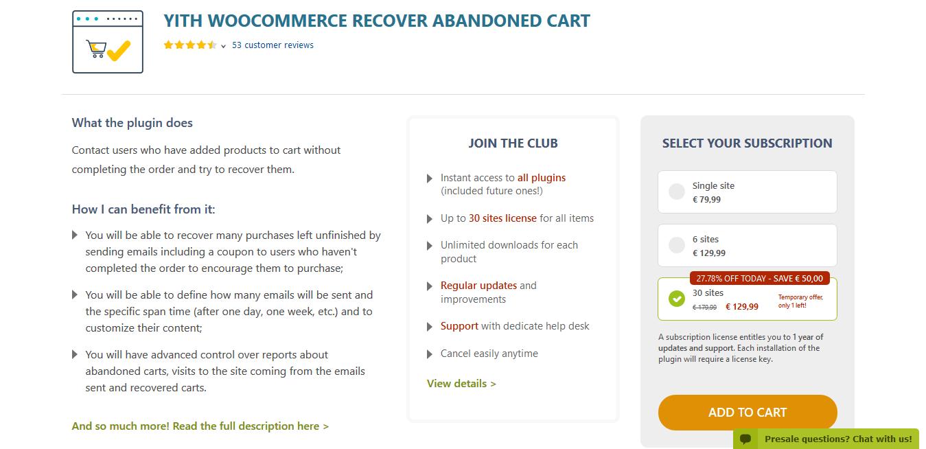 YITH WooCommerce Recovered Abandoned Cart Premium 2.0.6