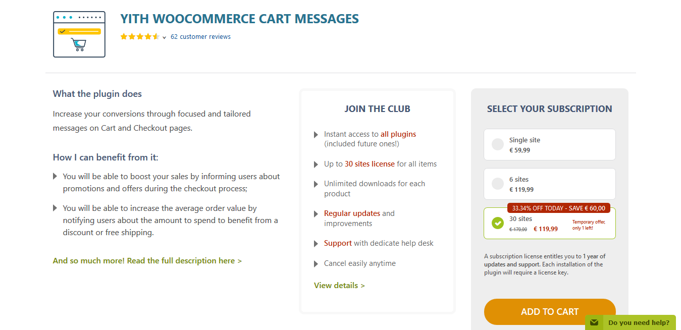 YITH WooCommerce Cart Messages Premium 1.7.7