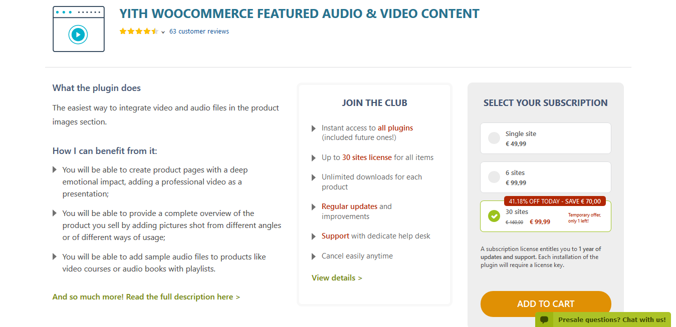 YITH WooCommerce Featured Audio & Video Content Premium 1.3.6