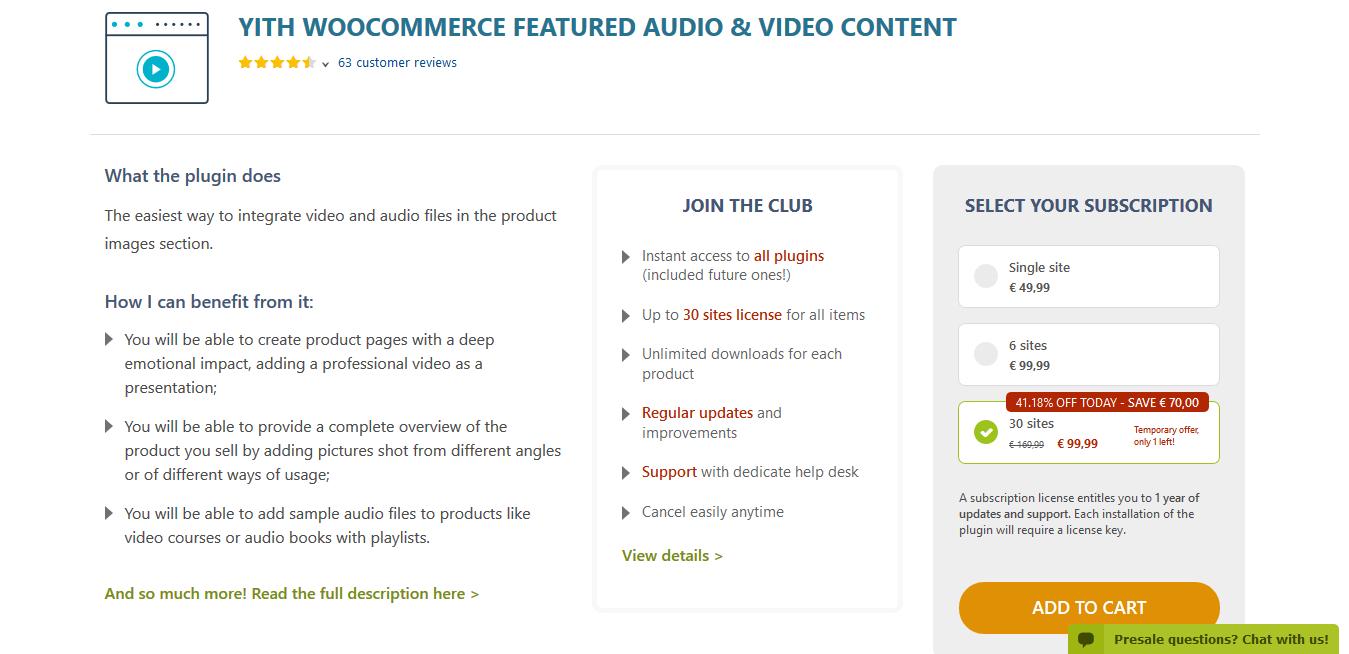 YITH WooCommerce Featured Audio & Video Content Premium 1.3.12