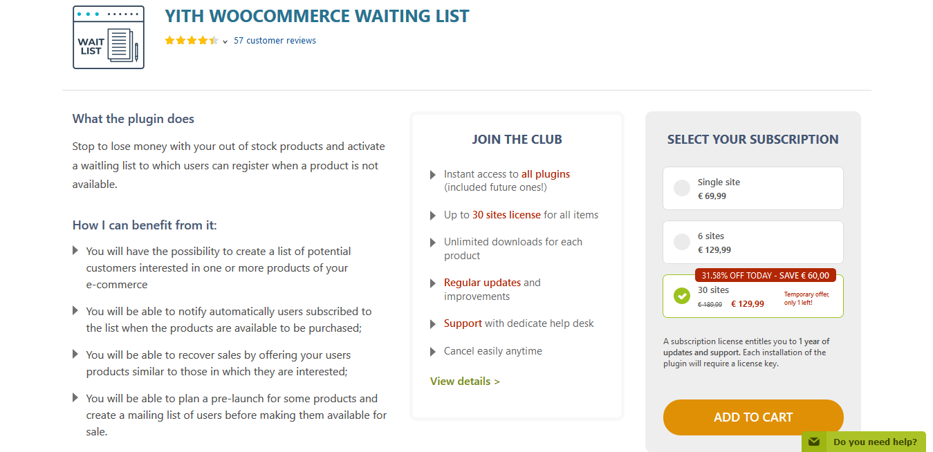 YITH WooCommerce Waiting List Premium 1.9.4