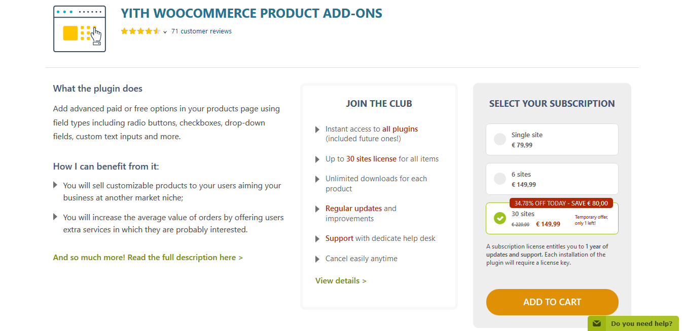 YITH WooCommerce Product Add-Ons Premium 1.5.34