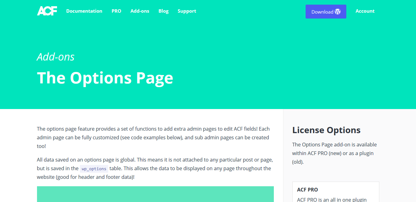 ACF Pro – Advanced Custom Fields Options Page Addon 1.2