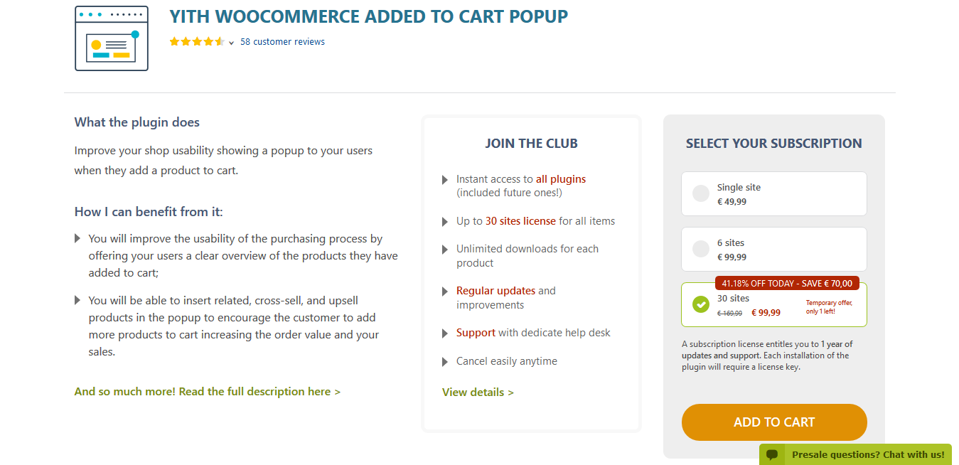 YITH WooCommerce Added to Cart Popup Premium 1.7.0