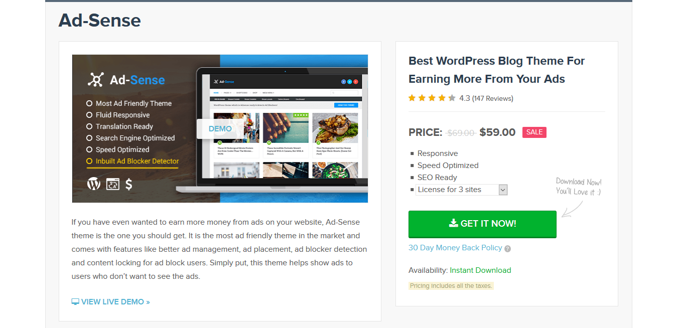MyThemeShop Ad-Sense Premium 1.3.11 – WordPress Ad Friendly Blog Theme