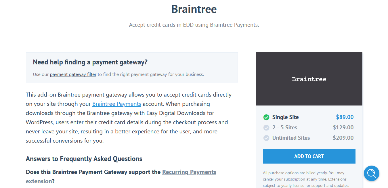 Easy Digital Downloads Braintree 1.2 – Accept credit cards in EDD using Braintree Payments.