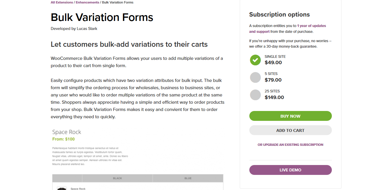 WooCommerce Bulk Variation Forms 1.6.7