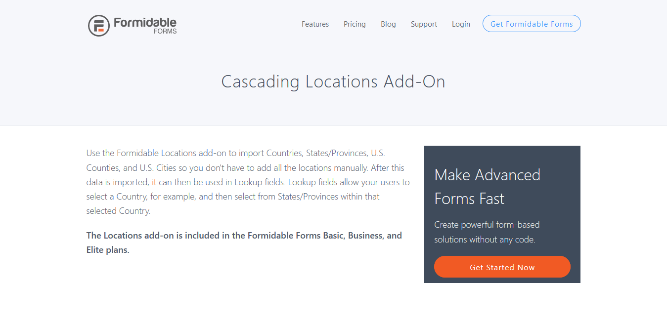 Formidable Forms Pro Cascading Locations Addon 2.02