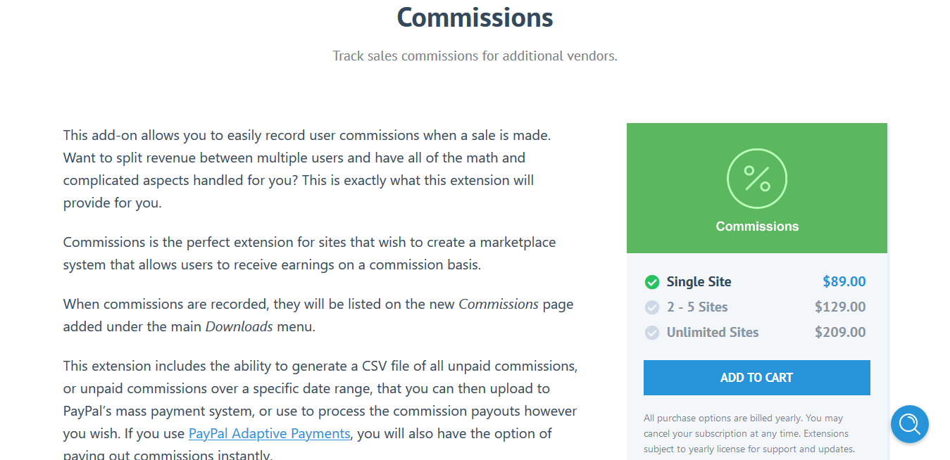 Easy Digital Downloads Commissions 3.4.10 – Track sales commissions for additional vendors.