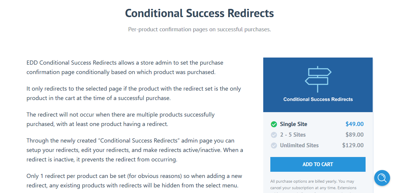 Easy Digital Downloads Conditional Success Redirects 1.1.6