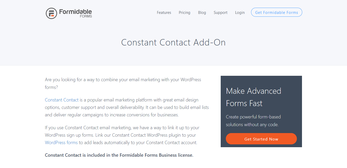 Formidable Forms Pro Constant Contact Addon 1.02