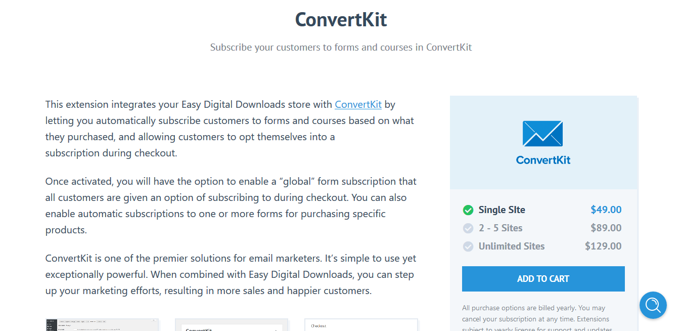 Easy Digital Downloads ConvertKit 1.0.6 – Subscribe your customers to forms and courses
