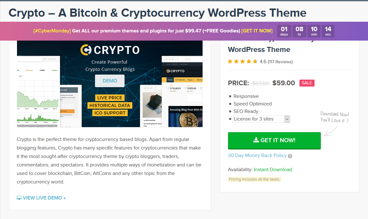MyThemeShop Crypto Bitcoin & Cryptocurrency WordPress Theme 1.1.7