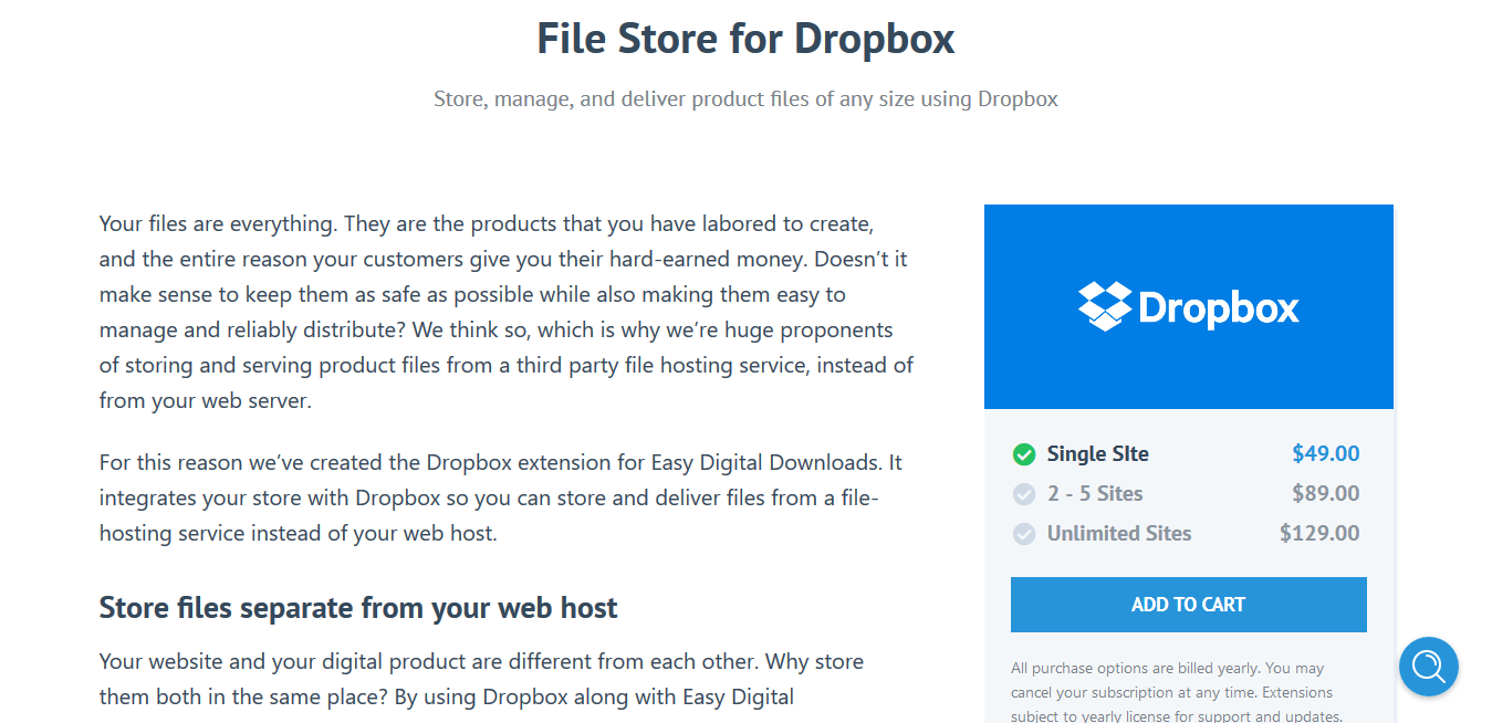 Easy Digital Downloads File Store for Dropbox 2.0.3