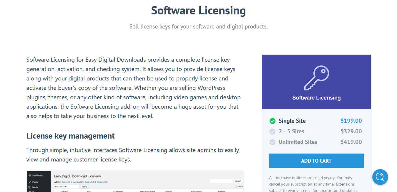 Easy Digital Downloads Software Licensing 3.7 – Sell license keys for your software and digital products.