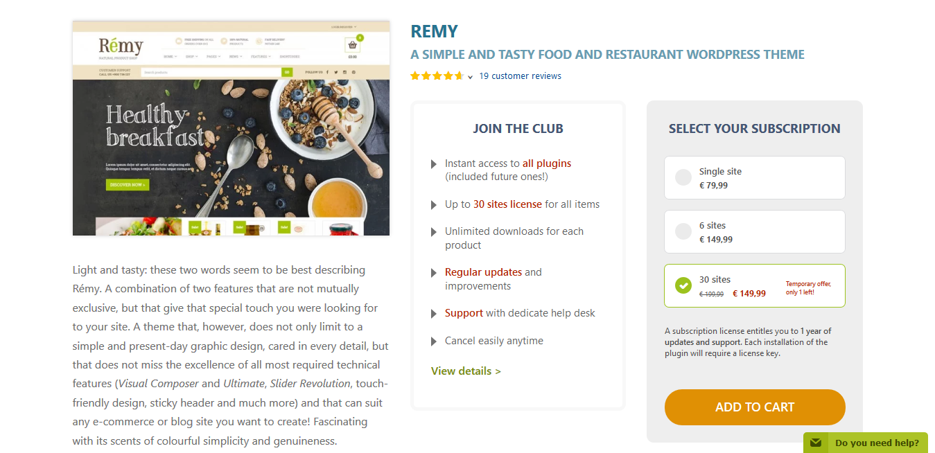 YITH Remy 1.2.8 – Food and Restaurant WordPress Theme