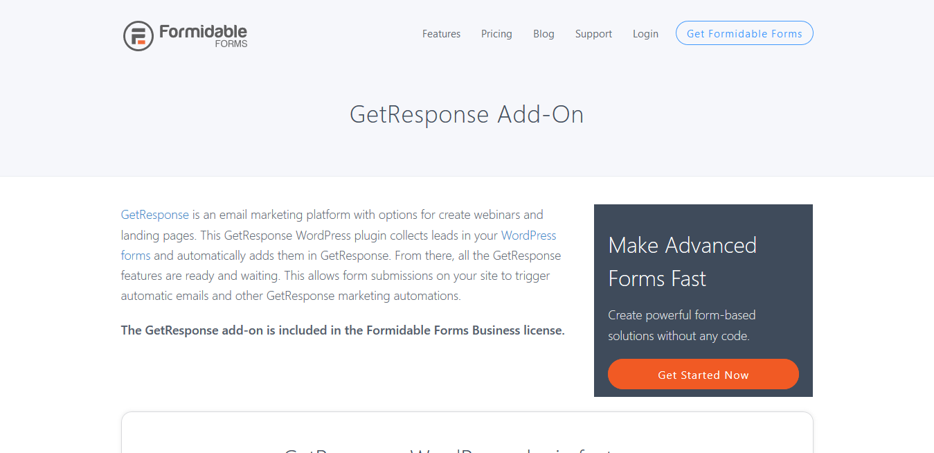 Formidable Forms Pro GetResponse Addon 1.04