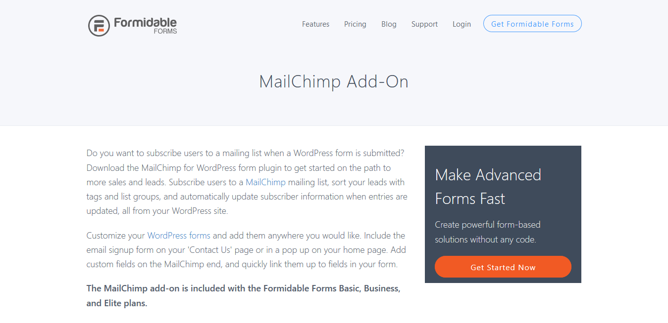 Formidable Forms Pro MailChimp Add-On 2.04