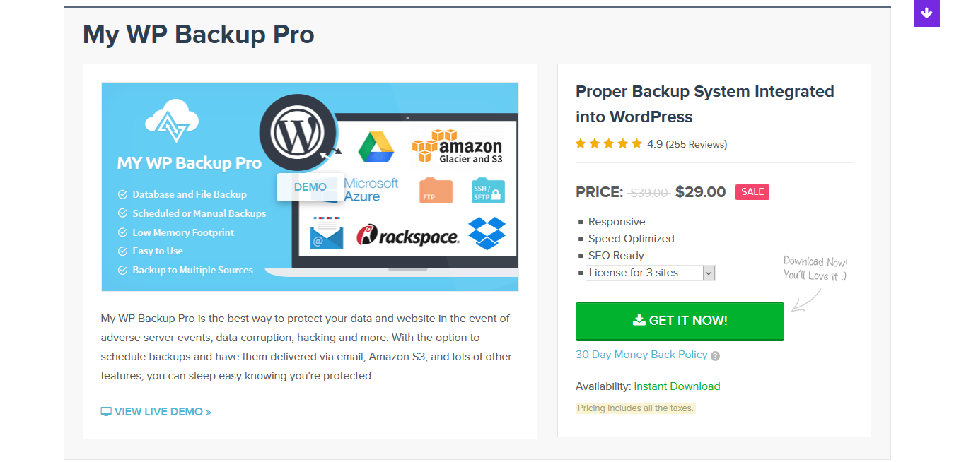 MyThemeShop My WP Backup Pro 1.3.12 – Premium Backup WordPress Plugin