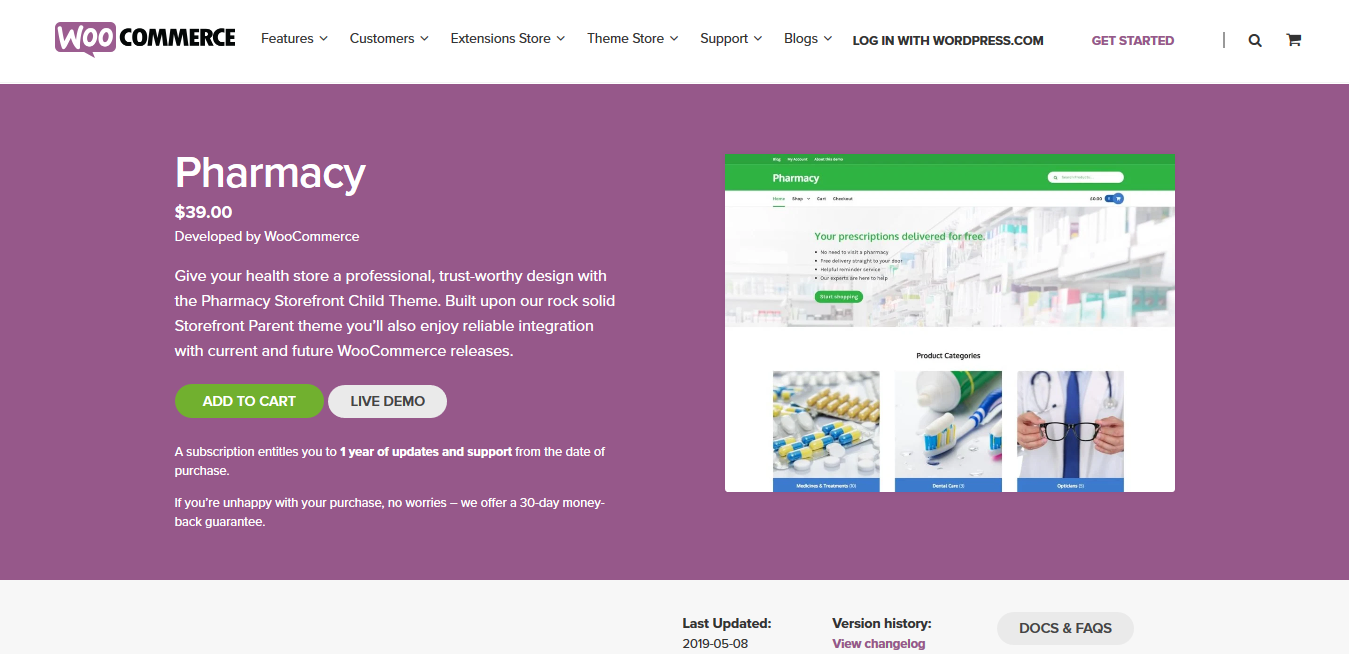 Storefront Pharmacy 2.0.14 – A WooCommerce Storefront child theme for healthcare