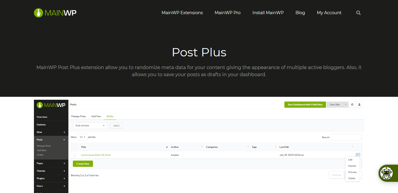 Post Plus 4.0.2.1 – MainWP WordPress Management