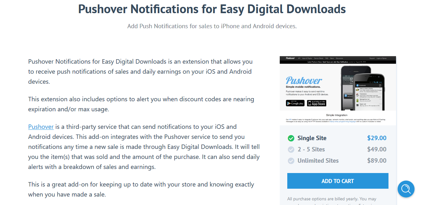 Easy Digital Downloads Pushover Notifications for EDD 1.3.2