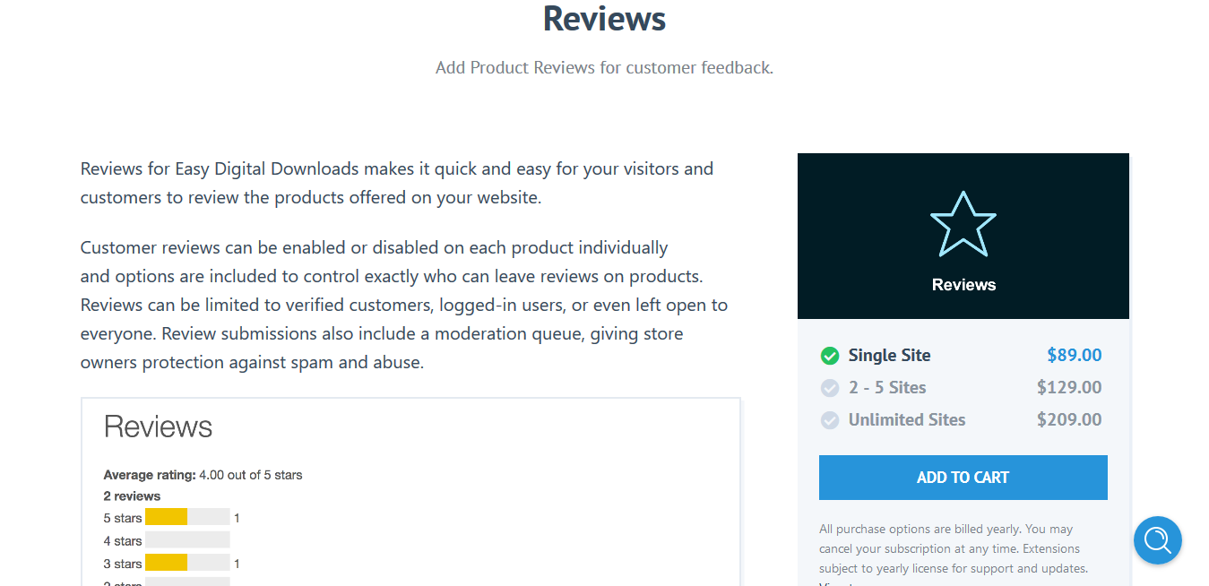 Easy Digital Downloads Reviews 2.1.12 – Add Product Reviews for customer feedback.