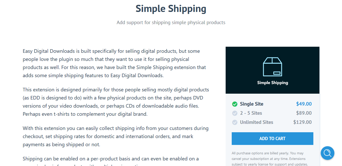 Easy Digital Downloads Simple Shipping 2.3.8 – Add support for shipping simple physical products