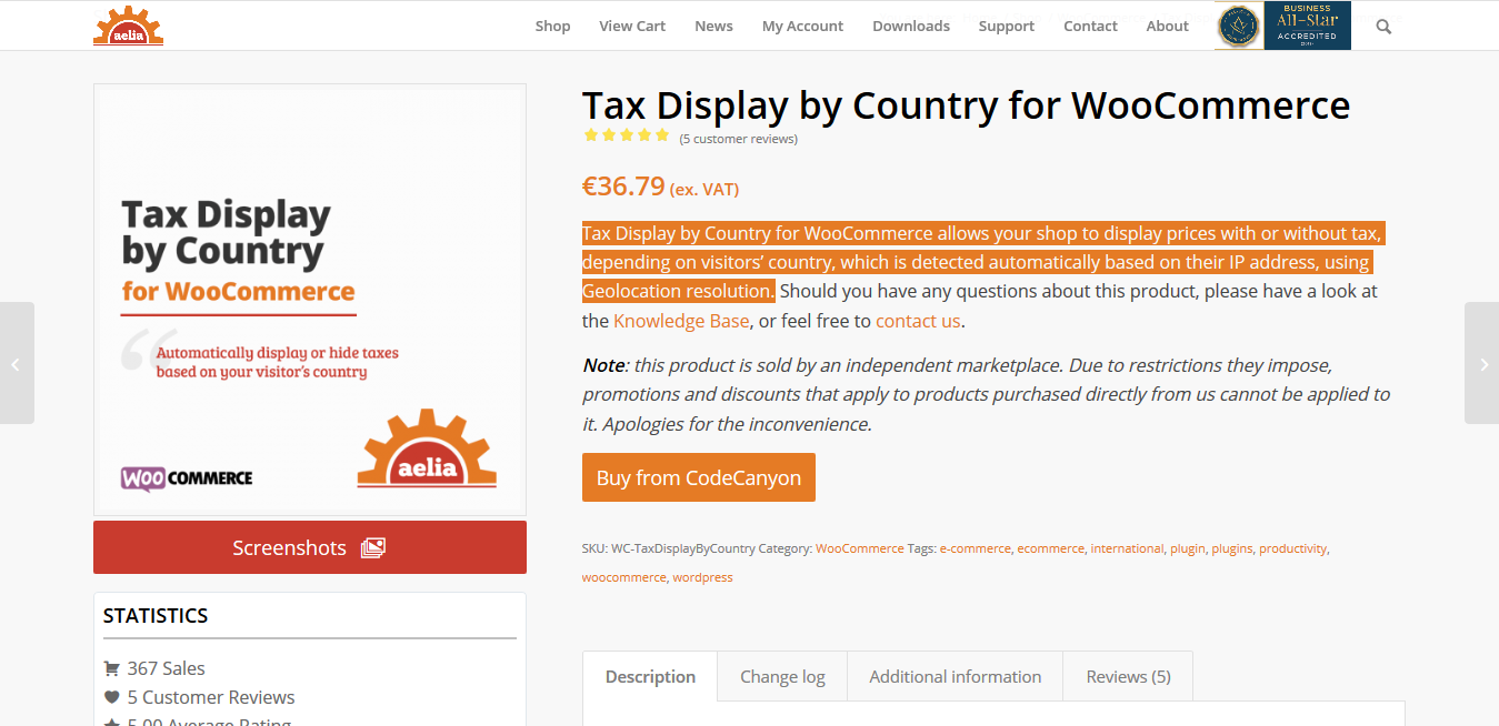 Aelia Tax Display by Country for WooCommerce 1.14.0.200625