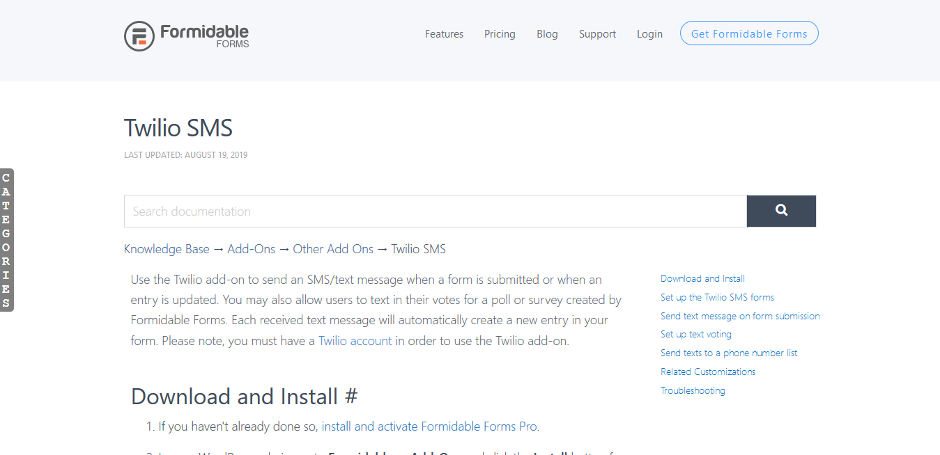 Formidable Forms Pro Twilio SMS Add-On 1.08