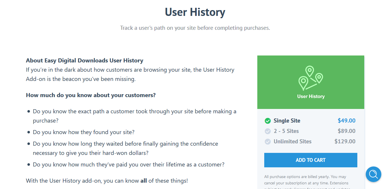 Easy Digital Downloads User History 1.6.1 – Track a user's path on your site before completing purchases.
