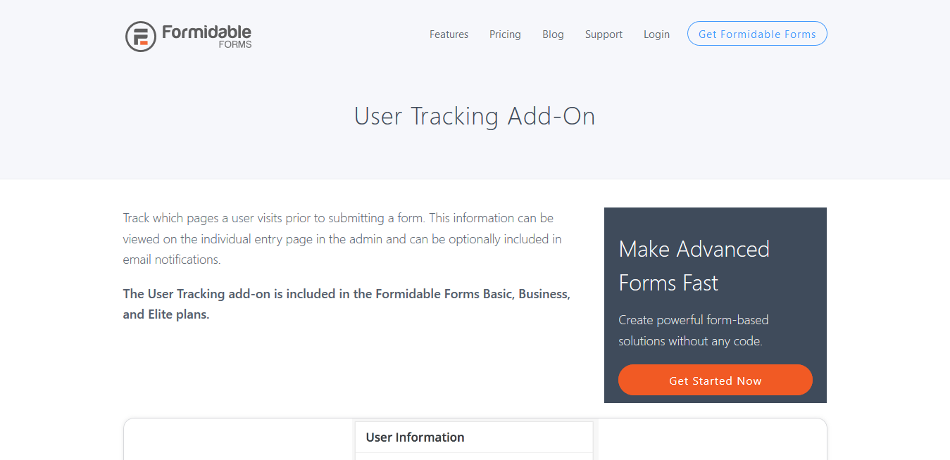 Formidable Forms Pro User Tracking Addon 1.0