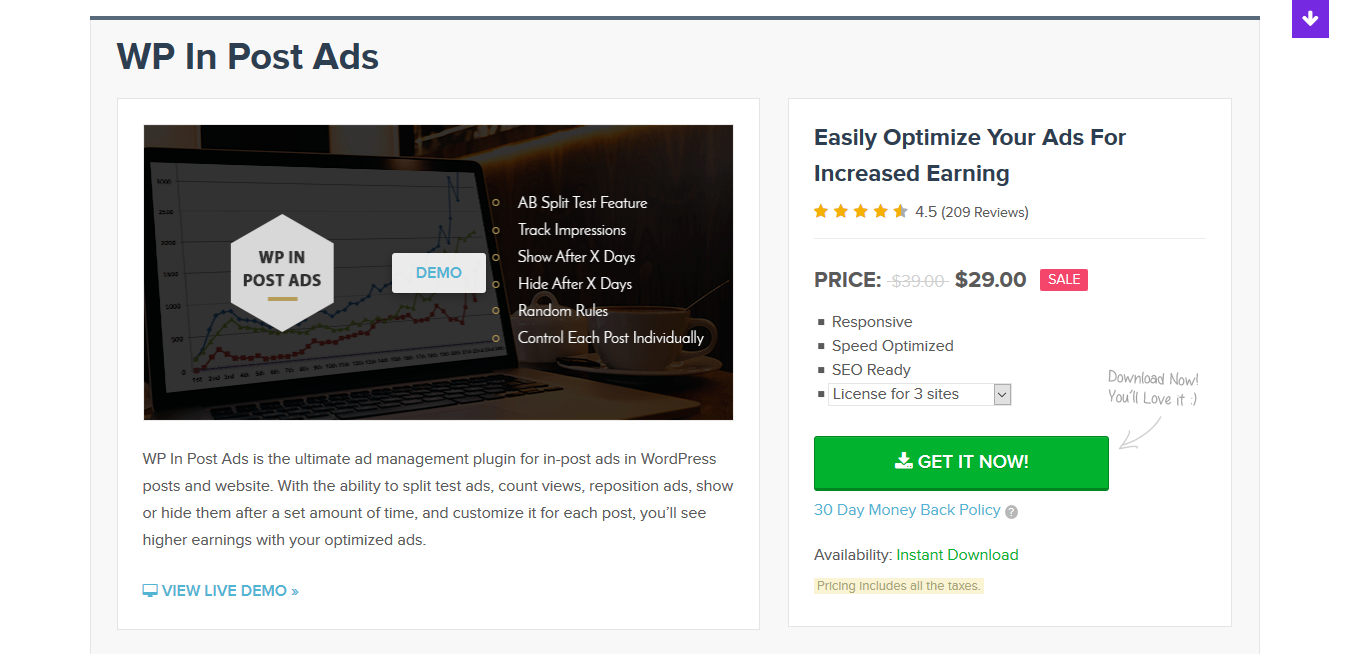 MyThemeShop WP In Post Ads 1.2.2 – Easily Optimize Your Ads For Increased Earning