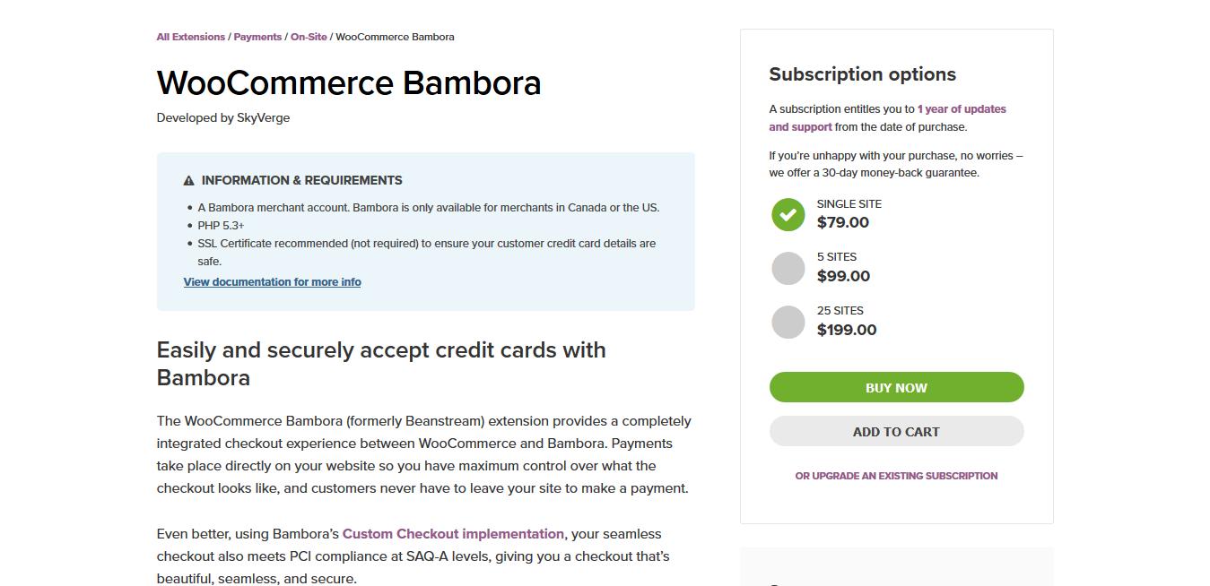 WooCommerce Bambora (Beanstream) 2.3.1