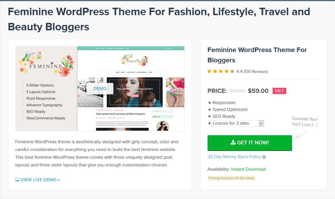 MyThemeShop Feminine WordPress Theme 2.1.10