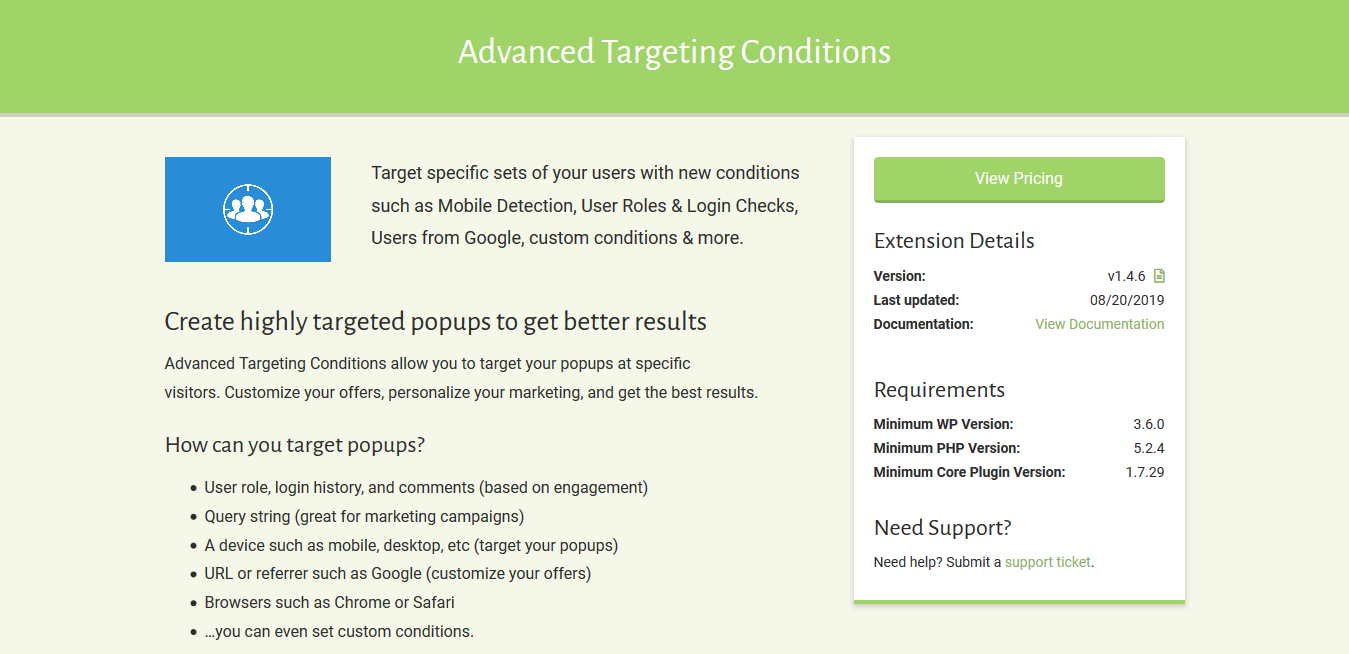 Popup Maker – Advanced Targeting Conditions 1.4.6