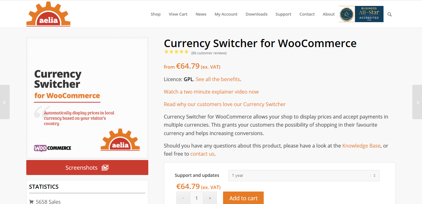 Aelia Currency Switcher for WooCommerce 4.8.11.200524
