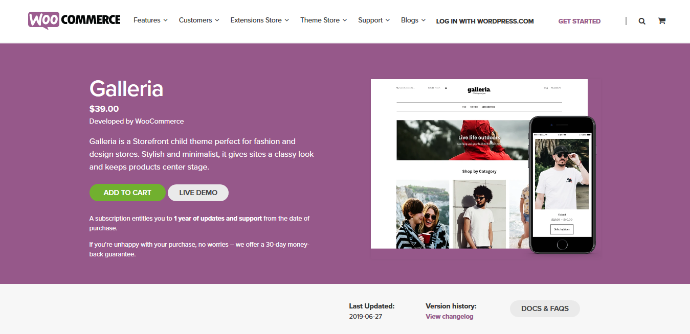 Galleria 2.2.18 – A stylish WooCommerce child theme for storefront –