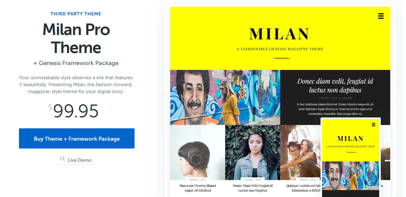 Milan Pro Theme by Themetry 1.1 – StudioPress