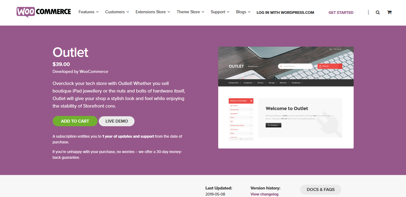 Storefront Outlet – A WooCommerce Storefront child theme for tech stores