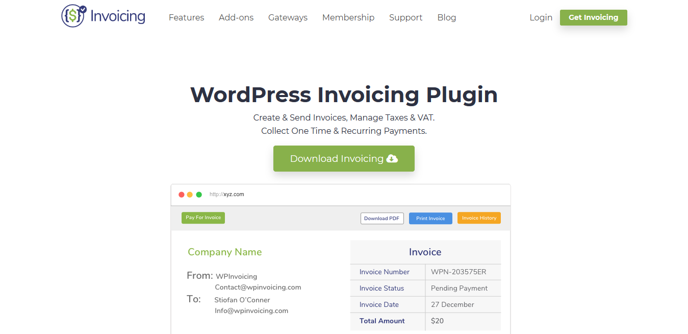WordPress Invoicing Plugin 1.0.12 + all 22 Addons