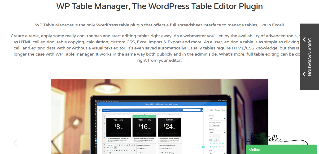 JoomUnited WP Table Manager 2.6.8 – The WordPress Table Editor Plugin