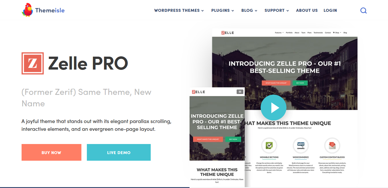 ThemeIsle Zelle PRO 2.1.6 – Premium One Page WordPress Theme