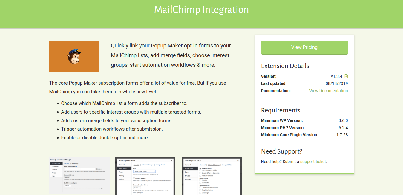 Popup Maker – MailChimp Integration 1.3.4