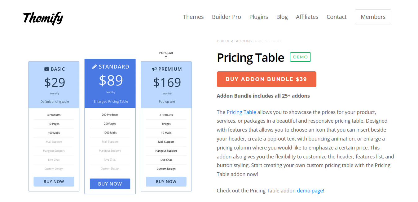 Themify Builder Pricing Table 2.0.0